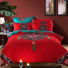 classic boho bedding set queen king size red bohemian quilt duvet cover winter warm bedclothes bed sheet sanded cotton bedding quilts country bedding sets