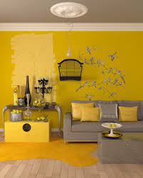 Yellow And Brown Living Room Living Room 19662174 Gray Modern Sofa In A Yellow Living Room