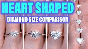 1 carat diamond size heart shaped diamond ring size comparison on the hand finger 1