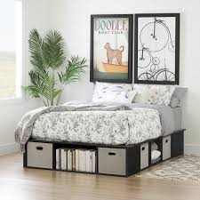 black platform bed with storage. Unique With Black Oak Full Size Platform Bed With Storage And Baskets  Flexible  RC  Willey Furniture Store Inside With O