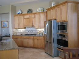 Travertine Floor Kitchen Grey Quartz Countertops And Natural Wood Kitchen Cabinets With