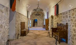 Interior Design Medieval Interior Of A Medieval Castle In Toledo Spain Stone Rooms With