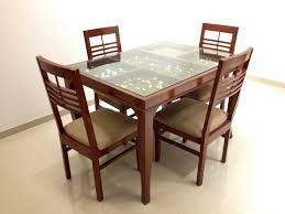 Elegant Wooden Dining Table With Glass Top Glass Wood Dining Table