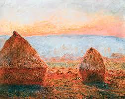 impressionist digital art claude monet haystacks at giverny the evening sun by pixbreak art