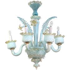 murano mid century blue crystal chandelier