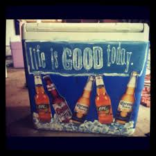 Coors Light Bud Light Painted Cooler With Real Bottle Pictures Coors Light Bud