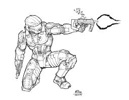 Halo Spartan Coloring Pages With Promising Halo Spartan Coloring