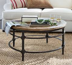Parquet Reclaimed Wood Round Coffee Table  Pottery Barn