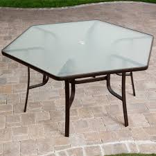 patio table and 6 chairs: hexagon patio table with brick motif tiles and  table legs ideas full size