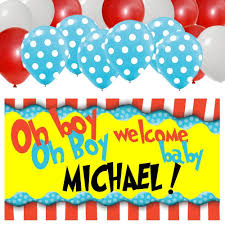 Baby Shower Banner Dr Seuss Personalized Baby Shower Banner 30 Balloon Kit