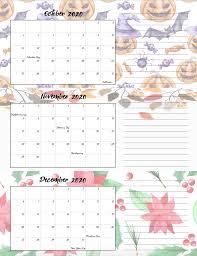 Free Printable 2020 Quarterly Calendars With Holidays 3