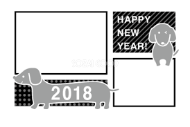 モノクロのダックスフンド戌年写真フレーム無料年賀状イラスト80231
