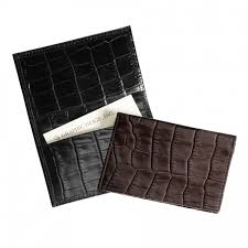 Fold Over Card Case In Crocodile Embossed Leather Graphic Image