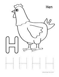 h is for hen letter H worksheet preschool