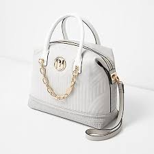 Island Grey quilted chain front bowler bag 706823 women Bags ... & River Island Grey quilted chain front bowler bag 706823 women Bags / Purses  Cross Body Bags Adamdwight.com