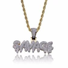 hip hop necklace brass gold color iced out micro pave cubic zircon savage letter pendant necklace