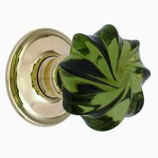 colored glass door knobs. clear peridot green whirl glass door knob colored knobs