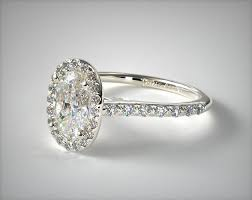 halo shank diamond engagement ring oval center 14k white gold