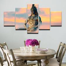 modern frames modular pictures 5 panel great india deities siva wall art for living room