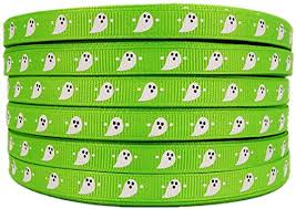 3/8 Inch Halloween Ghost <b>Printed</b> 50 Yards <b>Apple Green Grosgrain</b> ...