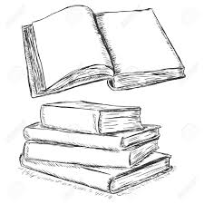 vector sketch ilration blank open book and stack of books stock vector 62675625
