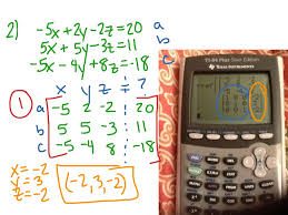 solving systems of equations with 3 variables using calculator math algebra showme