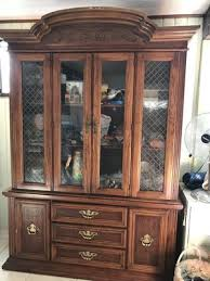 antique vintage oak china cabinet with lights in good condition for in