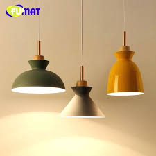 wood colorful aluminum lamp shade modern pendant lights fashion dining room for home light traditional brisbane