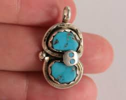 snake pendant southwestern native american handmade sterling silver blue turquoise witch snake grunge alternative gift for