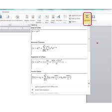 equations in word 2007 or 2010
