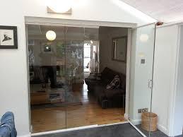 interior frameless glass door. Beautiful House Design Using Glass Bifold Doors: Frameless Clear Doors For Interesting Exterior Interior Door