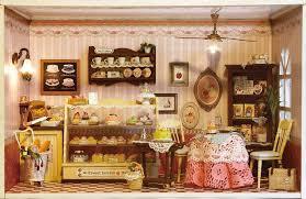 Miniature Dollhouse Furniture Kits Wooden Cake Shop Model DIY