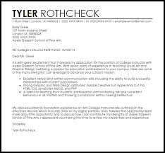 cover letter for college instructor college instructor cover letter sample livecareer