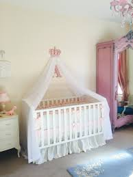 Girls pink nursery cot canopy white bed princess crown   Baby ...