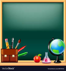 School Chalkboard Background School Tools On Green Blackboard Background Vector Image