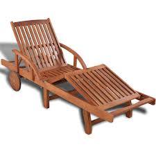 Classic Garden Lounger <b>Solid</b> Acacia Wood <b>Sun Lounger</b> Slatted ...
