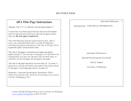 Apa Style For Research Papers Requires A Title Page