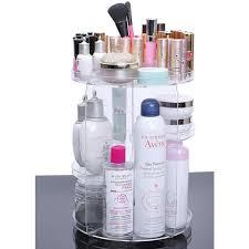 makeup organizer adjule 360 cosmetic case storage box rotating diamond