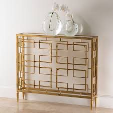 gold console table. Modern Iron Block Console In Gold Table