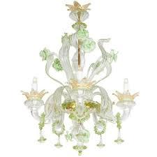 venetian 1950s murano glass mint green fl motif chandelier