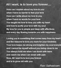 Quotes About Wanting To Be Loved Inspiration All I Want Is To Love You Forever Poem By Ravi Sathasivam