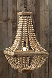 home design various wood bead chandelier at square metal w natural color beads country home