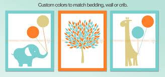ideas for boy nursery wall arts elephant tree and giraffe turquoise and orange on elephant and giraffe nursery wall art with turquoise elephant nursery wall art decor precise bees