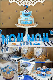 A Boys Cookie Monster Birthday Party Spaceships And Laser Beams