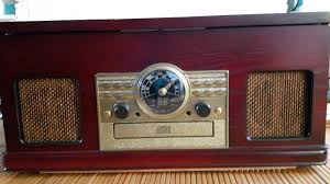 wooden nostalgic combo turntable radio cd cassette with built in stereo speakers