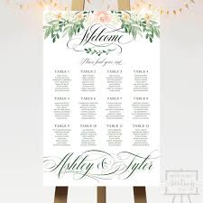 Seating Chart Wedding Pink Rose Floral Wedding Seating Chart
