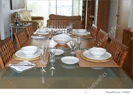 dining room table set. Elegant Dining: Stylish Dining Room.Table Setting For Four People At Home. Bowls Room Table Set I