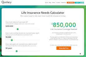 screenshot of quotacy life insurance needs calculator for 850 000