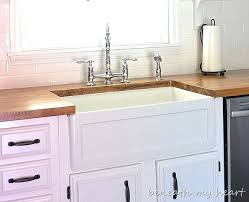 Ikea Farmhouse Sink Simple Kitchen Area With White Ceramic Single Bowl Apron  Front Delta Commercial D67