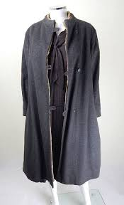 original 1940s vintage grey wool fur lined overcoat uk size 12 14